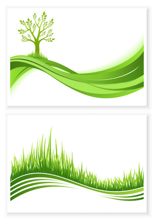 wawe: Set of green tree and grass growth vector eco concept. Nature background. Collection abstract illustrations with copyspace.