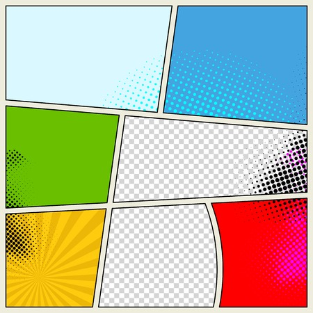Retro Comic Book Vector Background Çizim