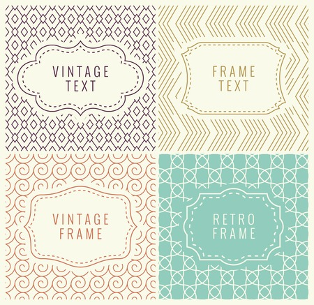 Retro Mono Line Frames with place for Text. Vector Design Template, Labels, Badges on Seamless Geometric Patterns. Minimal Textures