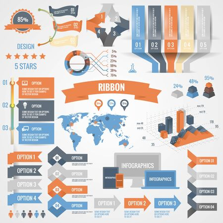 world globe: Infographics set with options. Business icons and charts circle origami style. Vector illustration. Diagram, web design, number options, step up options.