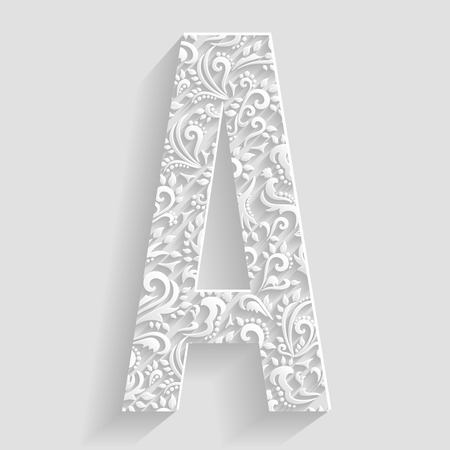 Letter A. Vector Floral Invitation cards Decorative Font 向量圖像
