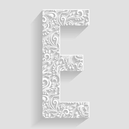 eleganz: Letter E. Grafik Floral Einladung karten Dekorative Font Illustration