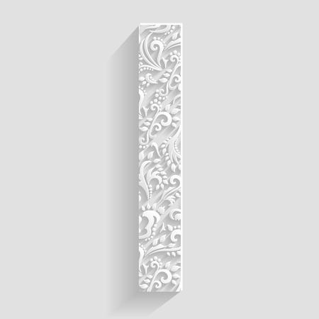 Letter I. Vector Floral Invitation cards Decorative Font