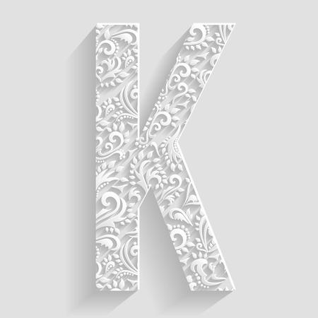 papier a lettre: Invitation Lettre K. Vector floral cartes décoratif polices