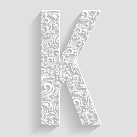 letter: Letter K. Vector Floral Invitation cards Decorative Font