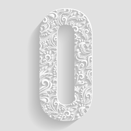 design background: Letter O. Vector Floral Invitation cards Decorative Font