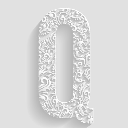 decorative design: Letter Q. Vector Floral Invitation cards Decorative Font