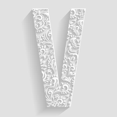 letter v: Letter V. Vector Floral Invitation cards Decorative Font