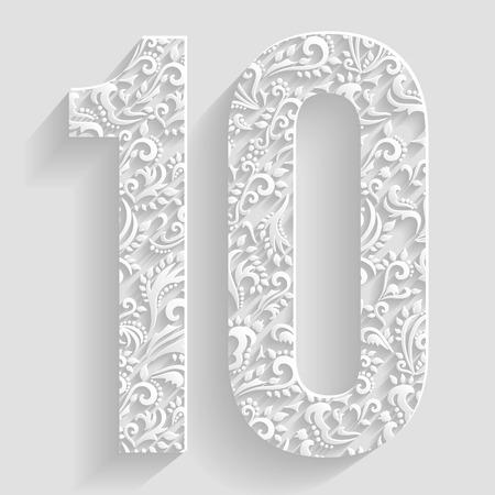 number 10: Number 10. Vector Floral Invitation cards Decorative Font