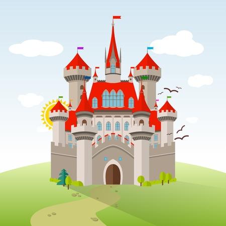 castello medievale: Castello da favola. Vector immaginazione del bambino illustrazione. Paesaggio pianeggiante con alberi verdi, Erba, Path, Pietre e nuvole