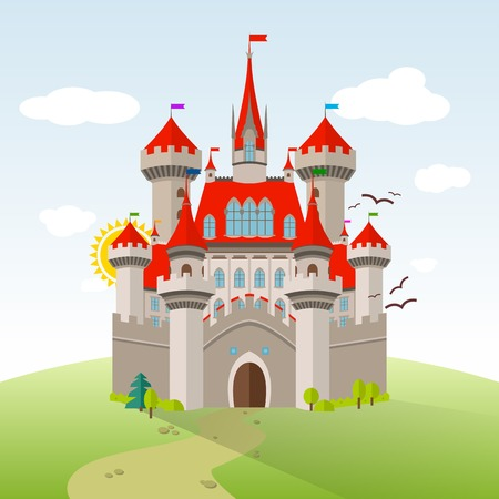 castle tower: Fairy-tale Castle. Vector Imagination Child Illustration. Flat Landscape with Green Trees, Grass, Path, Stones and Clouds Illustration
