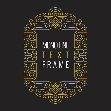 element for design: Vector Mono Line style Geometric Frame Template for Text. Golden Monogram Design element for Labels and Badges Illustration