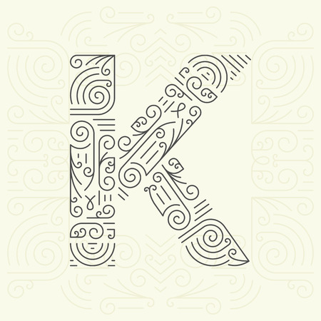 brands: Vector Mono Line style Geometric Font Your for Text, Slogan, Template or Advertising. Golden Monogram Design element for Labels and Badges. Letter K Illustration