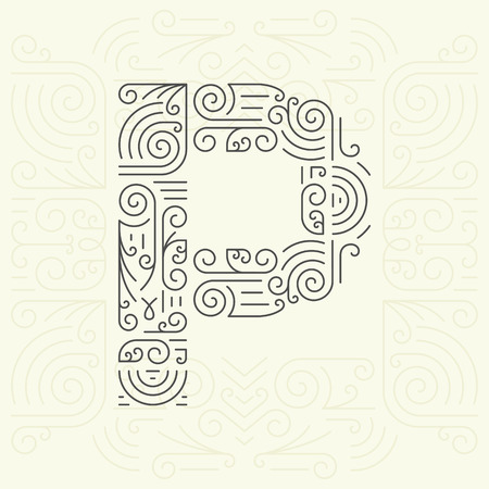 letter p: Vector Mono Line style Geometric Font Your for Text, Slogan, Template or Advertising. Golden Monogram Design element for Labels and Badges. Letter P