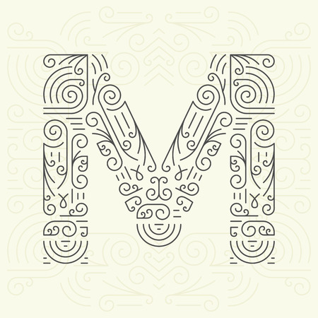 m: Vector Mono Line style Geometric Font Your for Text, Slogan, Template or Advertising. Golden Monogram Design element for Labels and Badges. Letter M