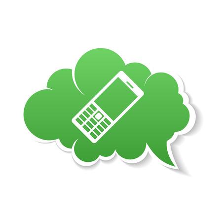 vecter: Green Phone speech Bubble Icon. Vecter color Illustration
