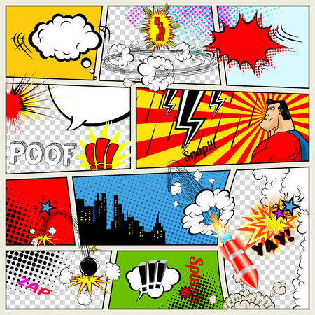 comics: Comics Template. Vector Retro Comic Book Speech Bubbles Illustration. Mock-up of Comic Book Page with place for Text, Speech Bubbls, Symbols, Sound Effects, Colored Halftone Background and Superhero
