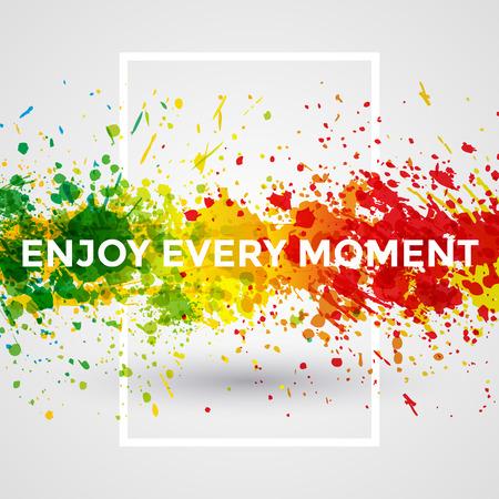 de colores: Motivación brillante pintura salpicaduras vector Acuarela Cartel Vectores