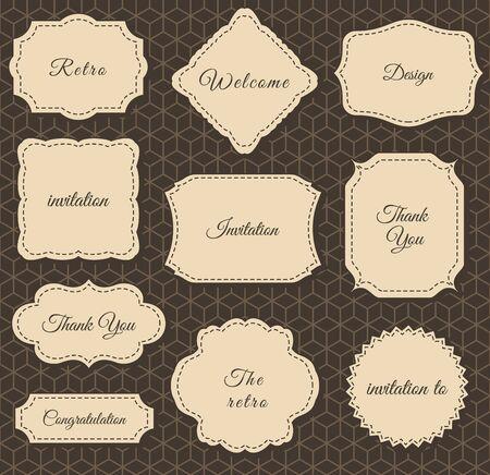 invitation cards: Vintage Frames Dark Background. Printing on fabric and Paper Illustration