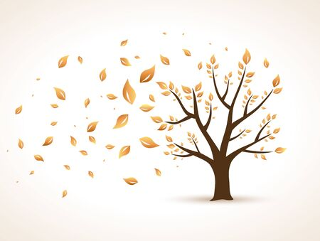 tree leaves: Gold Autumn. Abstract Vector Tree shaken by Wind