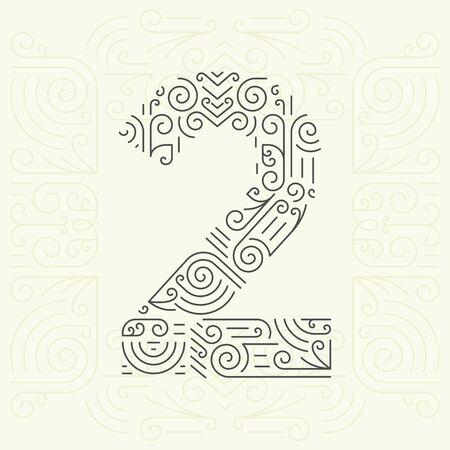 nombres: Style Vector Mono Police de ligne g�om�trique pour votre texte. Or �l�ment Monogram design pour les �tiquettes et insignes. Num�ro 2 Illustration