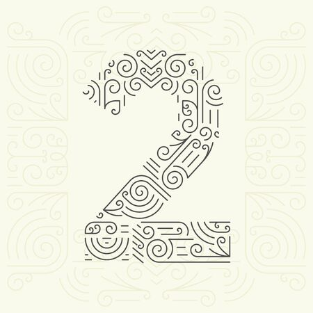 abstract numbers: Vector Mono Line style Geometric Font for Your Text. Golden Monogram Design element for Labels and Badges. Number 2 Illustration