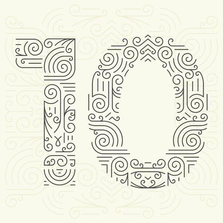 number 10: Vector Mono Line style Geometric Font for Your Text. Golden Monogram Design element for Labels and Badges. Number 10