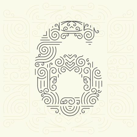 number 6: Vector Mono Line style Geometric Font for Your Text. Golden Monogram Design element for Labels and Badges. Number 6