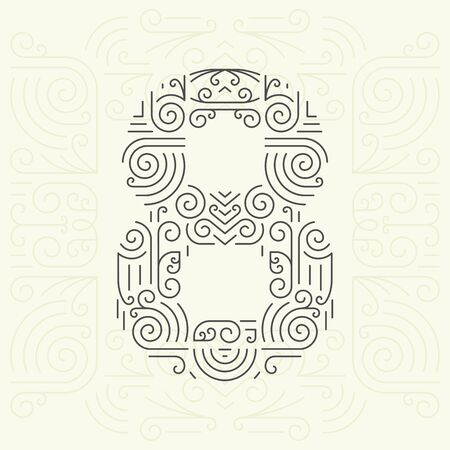 font design: Vector Mono Line style Geometric Font for Your Text. Golden Monogram Design element for Labels and Badges. Number 8