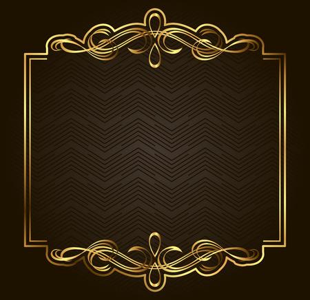 Calligraphique Retro frame vecteur d'or sur fond sombre. Prime élément de design