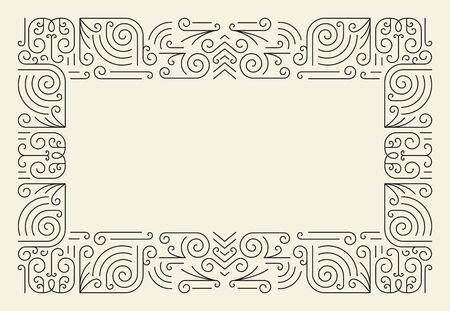 Mono Line Frame. Simple Certificate Border