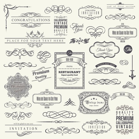 elemento: Elementi di design calligrafici, Border Frame Corner e Invito Collection