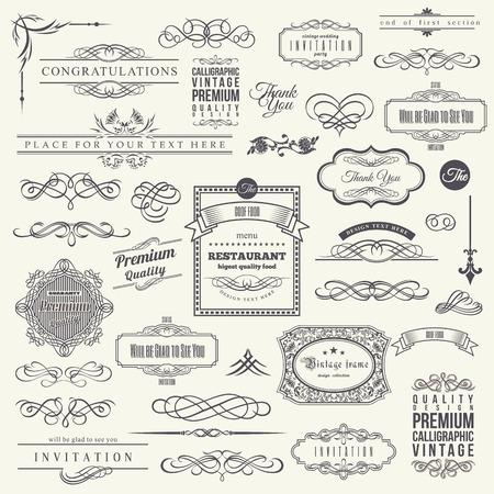 Elementos de diseño caligráfico, marco de esquina de borde y colección de invitaciones
