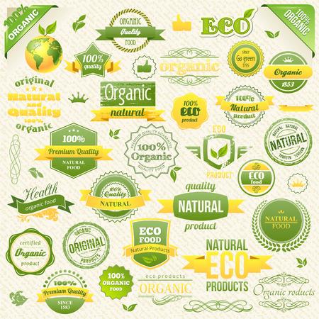 컬렉션 벡터 유기농 식품, 환경, 바이오 레이블과 요소. 음식과 음료에 대 한 요소.