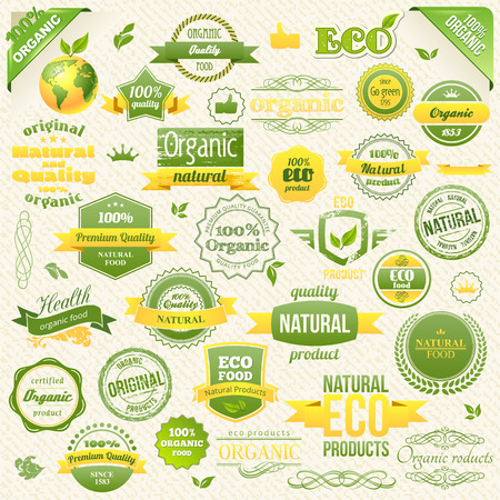 estampilla: Collection Vector Organic Food, Eco, Bio Labels and Elements. elements for Food and Drink.