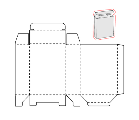 Plantilla de una simple caja en el fondo blanco. Cortado de papel o caja de cartón. Caja con troqueladas