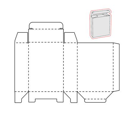 Vorlage einer einfachen Box auf weißem Hintergrund. Schneiden Sie aus Papier oder Karton. Box mit Die-Cut