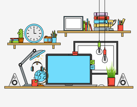 modern: Illustration of modern workplace. Creative office workspace. Flat minimalistic style. Flat design