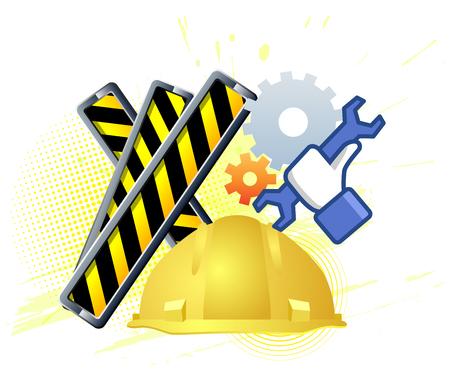 upkeep: Maintenance mode icon with hand wrench. Like work emblem. Work concept