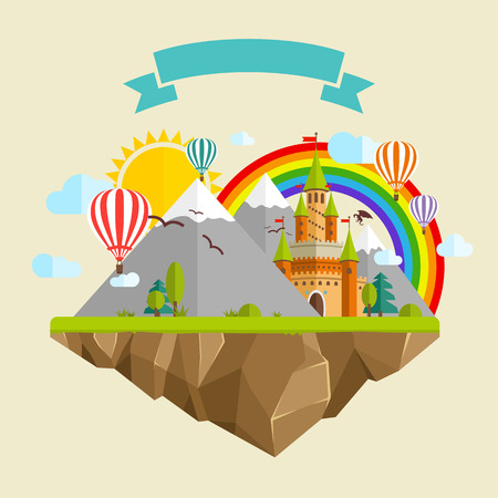 zero gravity: Flying island with Fairy Tale Castle, Balloons, Mountains, blue Clouds, green Trees, Sun, Rainbow, Green grass, Dragon and Ribbon Illustration