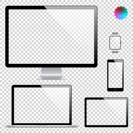 Set di visualizzazione realistica, laptop, tablet, cellulare, smartphone e modello di orologio intelligente su sfondo trasparente Vettoriali
