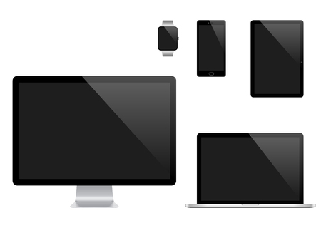 pc monitor: set of Modern Digital devices. Computer monitor, laptop, tablet pc, mobile phone and smart watch. Isolated on transparent background.