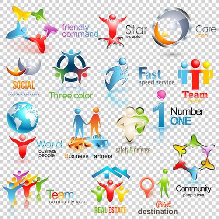 Gran colección de personas. Negocios Identidad Corporativa Social. Diseño humano ilustración iconos en el fondo transparente Ilustración de vector