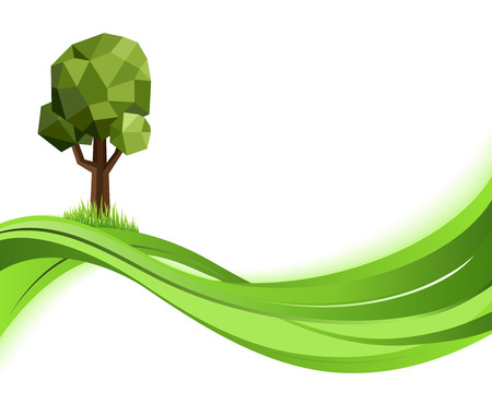 nature green: Green wave nature background. Eco concept illustration. Abstract green vector illustration with copyspace