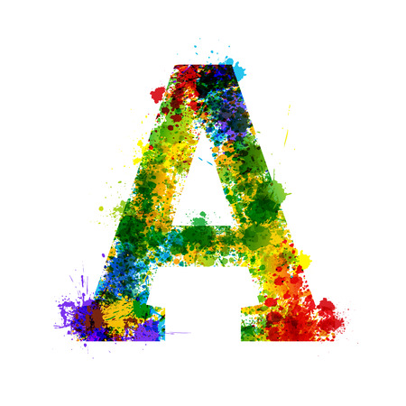 Color Paint Splashes. Gradient Vector Font. Watercolor Designer Decoration Alphabet. Color ink Symbols Isolated on a White Background. Letter A
