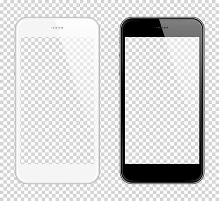 Realista teléfono inteligente Vector Mock Up. Completamente Re-tamaño-capaz. Manera fácil de colocar la imagen en la pantalla Smartphone, para el escaparate del diseño de la tela, producto, presentaciones, publicidad en estilo moderno. Teléfono inteligente Ilustración de vector