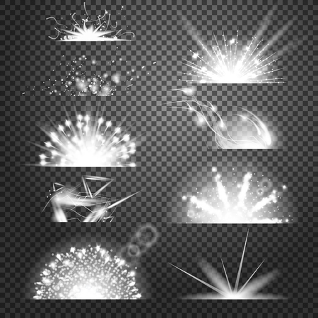 outburst: Vector lighting effects collection. Set of glints on transparent like background