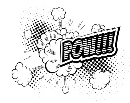 biff: Pow - Comic Speech Bubble, Cartoon. Comic journal sound. Text Illustration