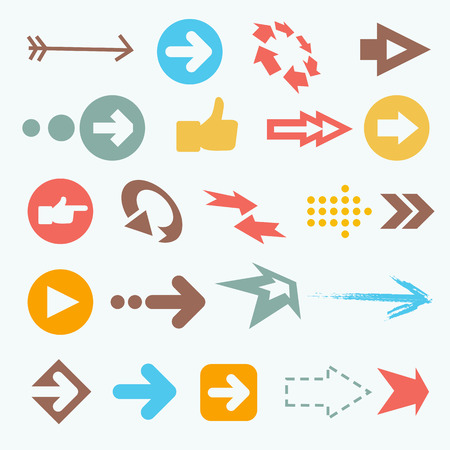 Vector illustration of color arrow icons. Big arrow collection Çizim