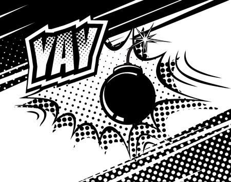 kapow: YAY comic sound. Bubbles and explosions in pop art style. Elements of design comic books. Vector illustration